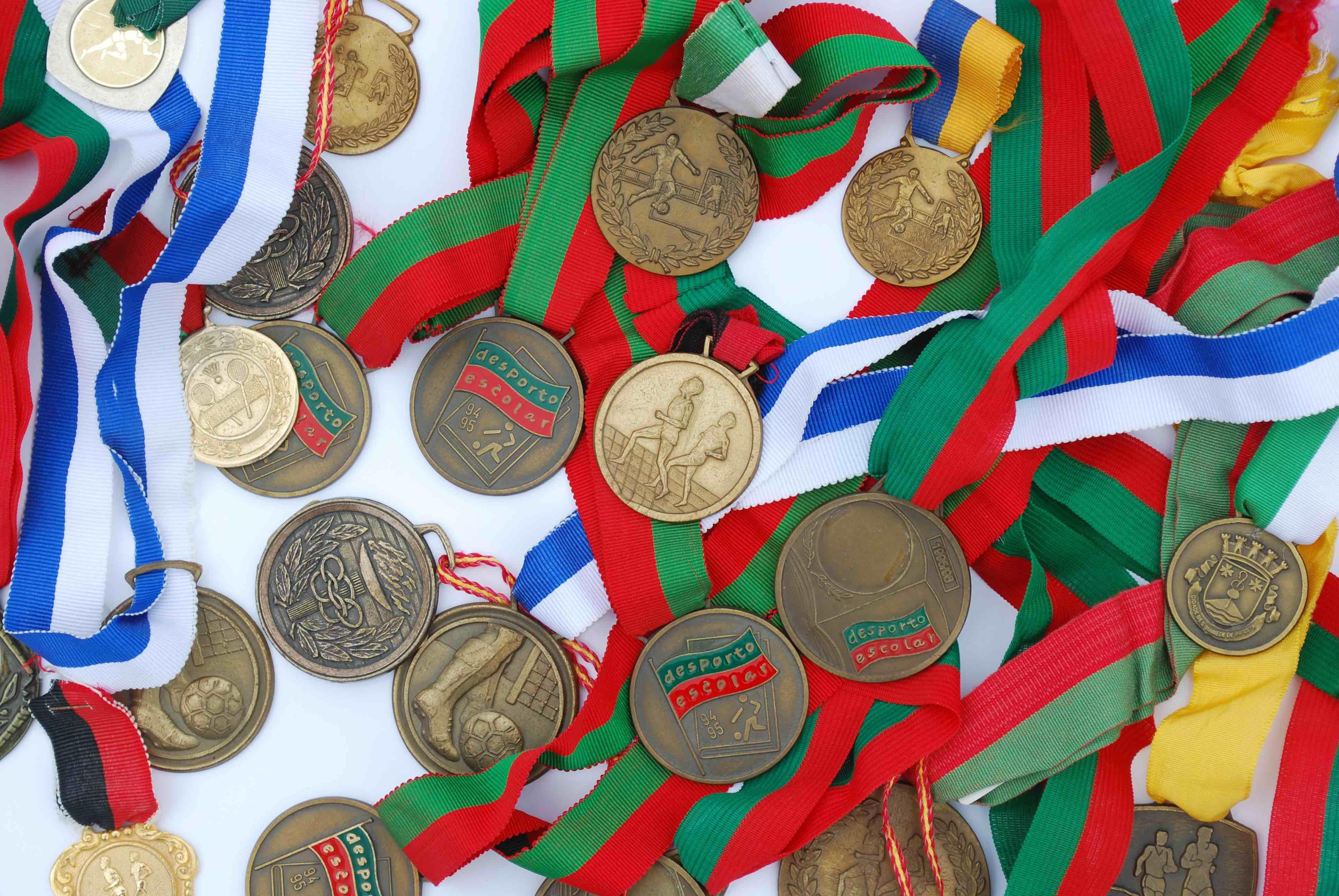 photo of a collection of medal awards from a sport competition
