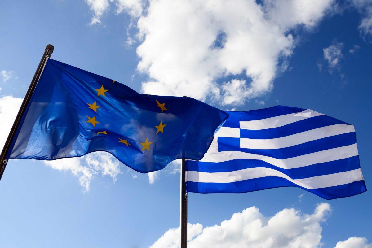 EU Greece Flags