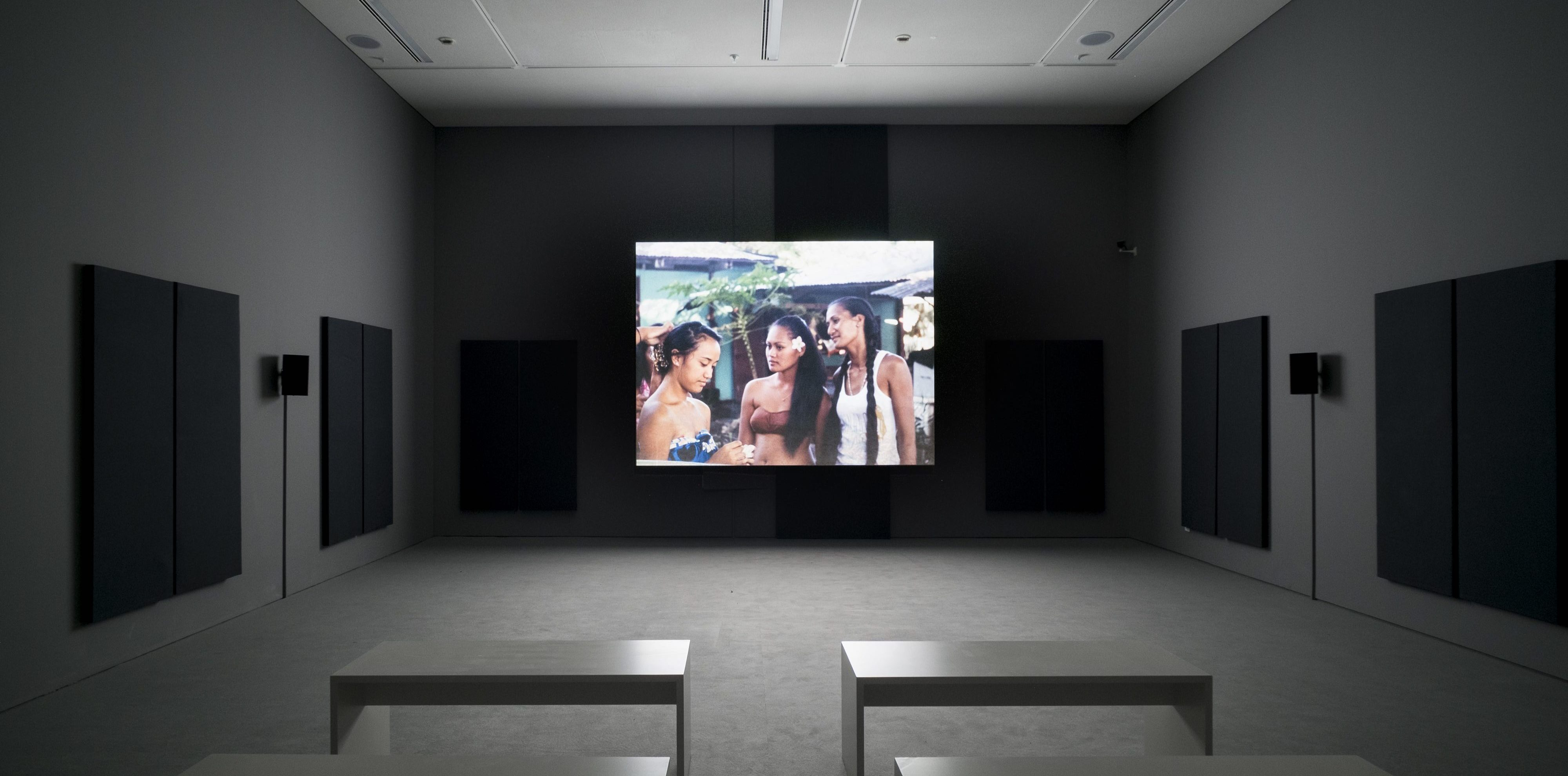 Nashashibi/Skaer, Why Are You Angry? 2017, digital video transferred from 16 mm film, installation view, EMST—National Museum of Contemporary Art, Athens, documenta 14, photo: Mathias V­ölzke