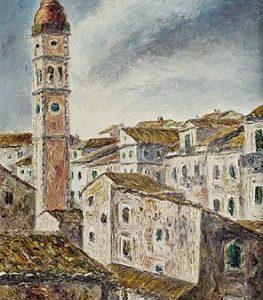 ΆγηςΞωμεριτάκης, Το Καμπαναριό του Αγιού (Κέρκυρα), 1974, λάδι σε καμβά, 41.5χ53.5 εκ.