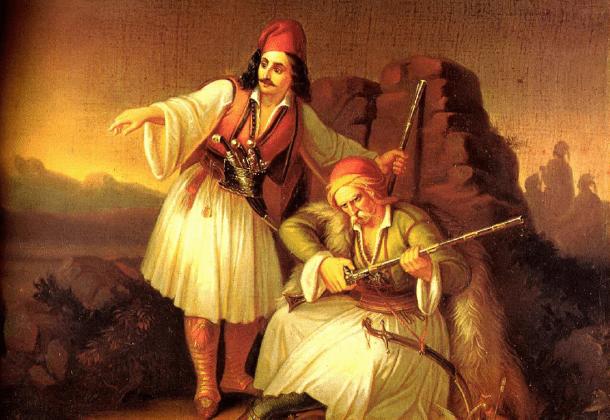 """Πίνακας """"Δύο Παλληκάρια"""" του Θεόδωρου Βρυζάκη"""